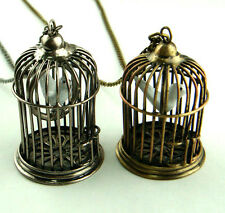 delicate Doors can be opened bird in cage alloy chain necklace pendant