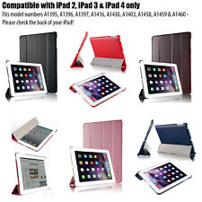 iPad 4 3 & 2 Leather Smart Case Cover Auto Wake Sleep RED WHITE PINK BLACK +