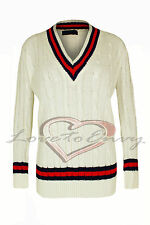 Ladies Cricket Jumper Cable Knit V Neck  In 3 FAB Colours One Size (8-14)