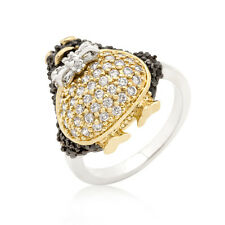 LOVELY ANIMAL PENGUIN BLACK CLEAR PAVE STONE LADY RING FASHION JEWELRY SIZE 5-10