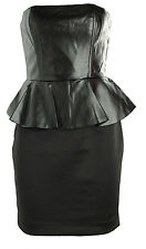 New black strapless PU faux leather peplum pencil dress size Au 6-14