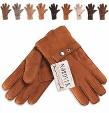 Nordvek Gents Mens 100% Real Sheepskin Leather Gloves with Strap New NV-307-100