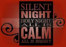SILENT NIGHT CHRISTMAS Vinyl Wall Saying Lettering Quote Decoration Decal Craft
