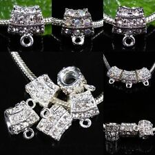 Lots AB /Clear Crystal Rhinestone Charm Bail Tube Clasp European Bead For Charm