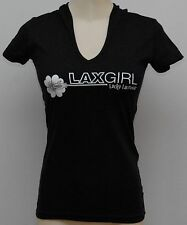 Lucky Lacrosse Lax Girl Lacrosse Fitted Hooded V-neck T-shirt Tee Shirt