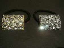 Shic-Chic Diamond Crystal Ponytail Hair Band Diamante  Bling Gold Silver Tie
