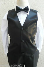 NEW BLACK VEST WITH BOW TIE SET FOR BOY & TODDLER FORMAL TUXEDO SUIT ALL SIZE