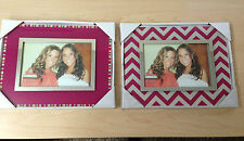GLASS AND CHROME PICTURE PHOTO FRAME SLEEK PINK FUCHSIA STRIPES WALL OR DESK