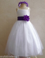 NWT WHITE PURPLE BRIDESMAID PAGEANT BIRTHDAY WEDDING PARTY FLOWER GIRL DRESS