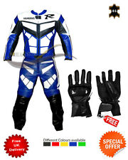 Yamaha R full suit motorbike Leather jacket trouser free gloves any size color