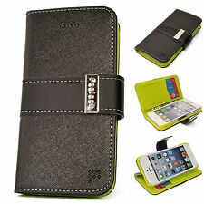 APPLE iPhone 5 5g Saffiano Leather Wallet BLACK Case Cover Flip Card Pouch Stand