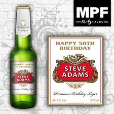 4 Personalised Lager/Beer Bottle Labels (Birthday Gift)