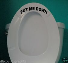 * PUT ME DOWN * TOILET SEAT LETTERING DECAL STICKER BATHROOM HIS OR HERS LIFT UP