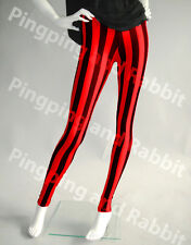 Red and Black Vertical Stripes Mime Spandex Leggings Pants Candy Cane Tights