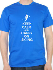 KEEP CALM AND CARRY ON SKIING - Ski / Snow / Exercise / Fun Themed Mens T-Shirt