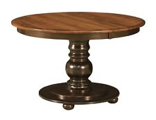"Amish Round Pedestal Dining Table Black Traditional Kitchen Solid Wood 42"" 48"""