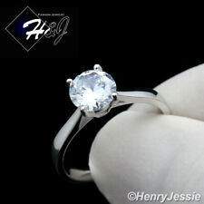 Women's Stainless Steel Silver 1CT Round Cut CZ Engagement Ring Size 6-9
