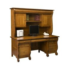 Amish Computer Executive Desk Hutch Solid Wood Home Office Country Furniture