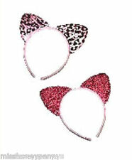Soft Cat Ears Covered Alice Band Leopard Tiger Animal Print Pink Shimmer 1980's