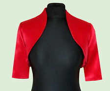 New Women Red Wedding Prom Satin Bolero Shrug Jacket Size UK S M L XL XXL