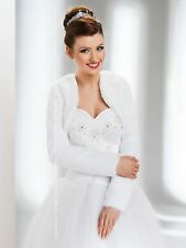 New Wedding White Faux Fur Jacket Bridal Wrap Shrug Bolero Coat Shawl-B18