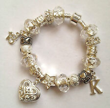 Personalised girls ladies Any initial Any Age crystal charm bracelet in gift box