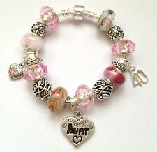 Personalised girls ladies  ANY Age 21 30 40 50 PINK Charm bracelet in gift box