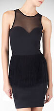New black sheer mesh insert long fringe trim sleeveless body con dress