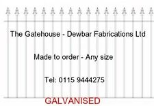 GALVANISED WROUGHT IRON RAILINGS / STEEL METAL FENCING  (No.1G) - MADE TO ORDER