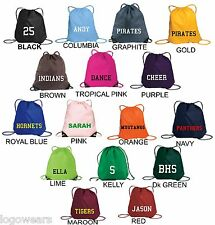 Personalized CUSTOM Cinch Sack Back Pack Gym Bag COLORS