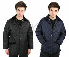 NEW MENS DIAMOND QUILTED PADDED HUNTER STYLE WARM COAT POCKET JACKET SIZES XS-XL