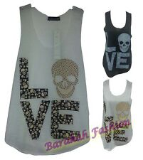 NEW GIRLS WOMEN LADIES VESTS T SHIRTS TOPS SEXY LOVE WITH SKULL PRINT LOOSE FIT