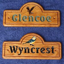 Carved Solid Oak Wooden Railway Arch House Cottage Family Door Name Plaque Sign