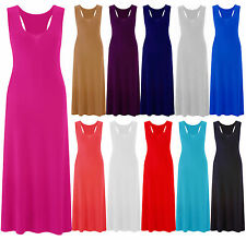 New Womens Ladies Plus Size Racer Back Jersey Muscle Vest Maxi Dress Skirt 16-26