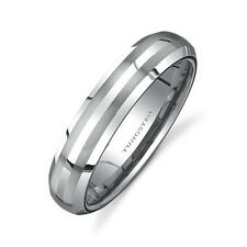 5MM Womens Tungsten Ring Wedding Band Double Brush Matted Bevel Edge High Polish