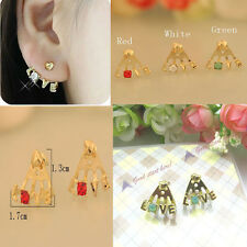 Fashion Earring Shiny Rhinestone Crystal Love Letters Delicat Ear Stud Earrings