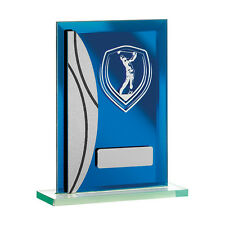 Golf trophy FREE Engraving Blue Glass Golf Award