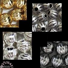 ROUND CORRUGATED RIBBED 4mm METAL SOLID SPACER BEADS 100pc Free Shipping