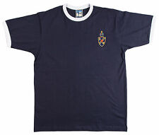 Retro 1950/60s Bolton Wanderers Football T Shirt Navy Trim New Sizes S-XXL