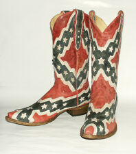 Rebel Flag Retro Snip Toe Corral Men's A1003 Distressed Leather Western Boot