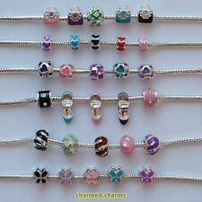 1 or 4 Silver Plated Enamel Charm Spacer Bead For European Styled Charm Bracelet