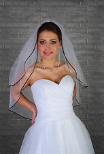 New Women 2 Tier Ivory Wedding Bridal Elbow Veil Satin Black Edge Length 28""