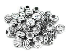Silver Tone Mixed Acrylic Spacer Beads 5 10 or 20 pc fit european charm bracelet