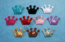 "U PICK~ 1-5/8"" Padded Satin Sequin Crown Appliques Dolls Crafts x 40 pcs #2568"