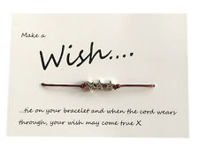 Friendship Wish Bracelet, choice of colour, charm and gift card, party favour
