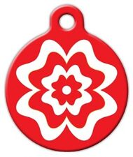 RED AND WHITE FLOWER - Custom Personalized Pet ID Tag for Dog and Cat Collars