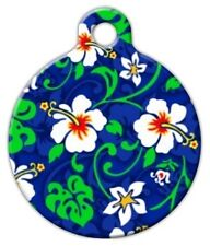 BLUE HAWAIIAN PRINT - Custom Personalized Pet ID Tag for Dog and Cat Collars