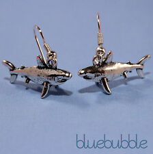 FUNKY SHARK EARRINGS KITSCH FISH CHARM SURFER JAWS QUIRKY UNUSUAL GIFT NAUTICAL