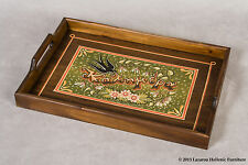 Wooden serving tray hand painted (a martlet on spring flowers) kalimera