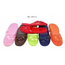 Women's Chinese Mesh Floral Sequined Slippers Flip Flops Multi-color Size 5-11